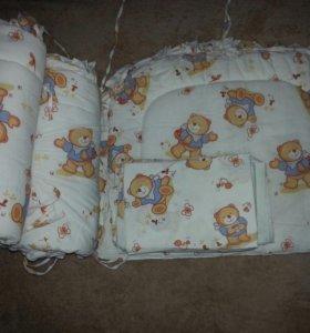 бортики в кроватку, комплект белья, одеяло+подушка