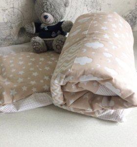 Одеяло лоскутное, простынь и подушечка.новый!!!