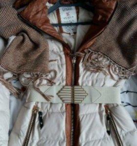 Комплект пуховик пальто шарф шапка 42
