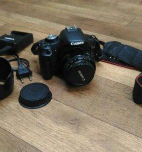 Canon 500 d+canon 50 1.8 +доп. Аккумулятор+ бленда