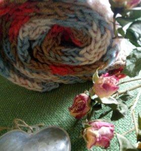 Вязаный комплект - шарф и шапочка. Ручная вязка.
