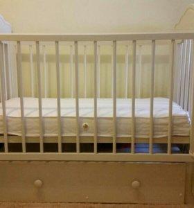 Детская кроватка новая! + матрас новый!