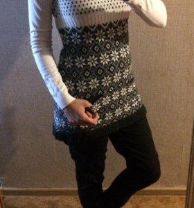 Шерстяной свитер-туника, размер 44