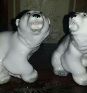 Фарфоровая статуэтка. Медведь белый ЛФЗ.