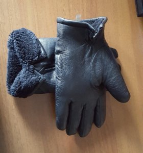 Кожаные зимние перчатки на меху