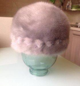 Шапка Норка цельная, цвет серый. размер 54-55