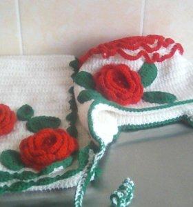 Зимняя шапка с шарфиком. Свяжу на заказ