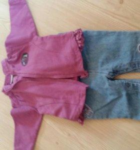 Кофточка+комбинезон джинсовый