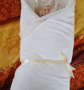 Одеяло на выписку с шапочкой