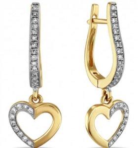 Золотые серьги с брилиантами НОВЫЕ