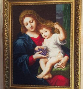 Вышивка крестиком Мадонна с виноградом