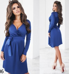 Платье синее шелковое артикул 02106