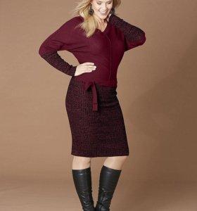 Новое бордовое вязаное платье 58-60 р-р
