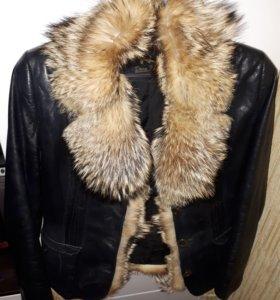 куртка кожанная с натуральным мехом кайота
