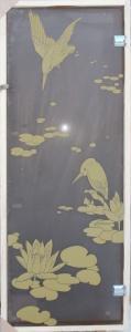 Дверь стеклянная Птицы (стекло матовое 8 мм)
