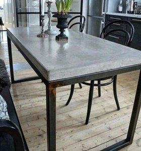 Бетонный стол, журнальный стол 🎞LOFTMEBEL4YOU