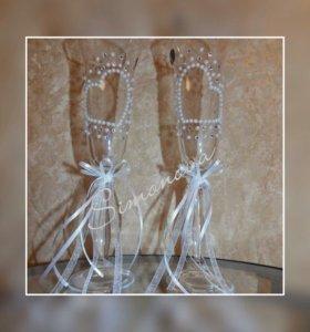Украшение свадебных бокалов на заказ