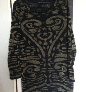 Платье свитер вязаное