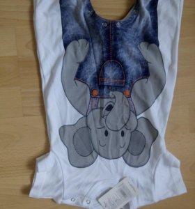 Новый песочник с коротким рукавом , рисунок слоник