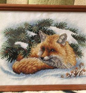 Картина, вышитая крестиком, ручной работы