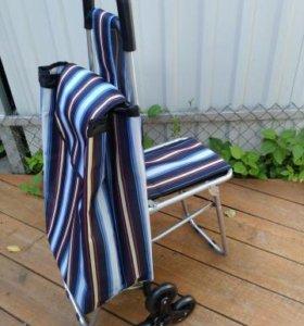 Сумка тележка 6 колес + стульчик, цветная полоска