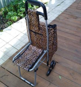 Сумка-тележка на шести колёсах новенькая леопард