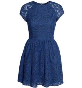 Платье кружевное синее