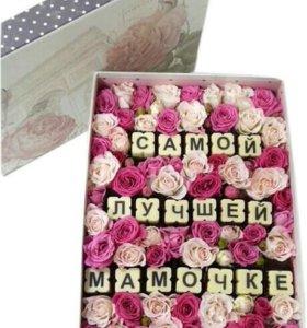 Коробочка конфет,капкейков с цветами
