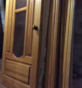 Двери Б/У, деревянные, лакированные