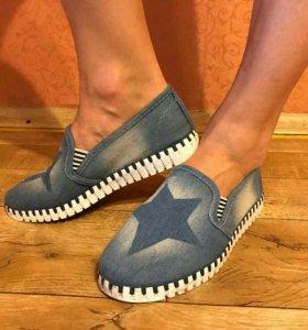 Обувь (джинсовые мокасины)