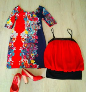 Платье нарядное, туфли и топ