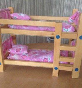 Кроватка для кукол ручной работы (деревянная)