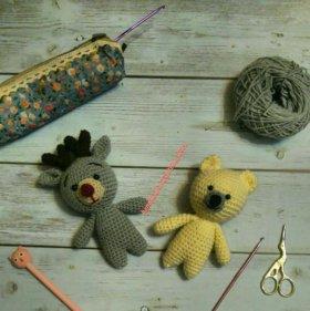 Игрушки амигуруми олененок и мишка