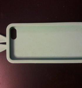 Силиконовый бирюзовый чехол с ушками на iPhone 5S