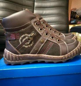 Ботинки новые 34 размер натуральная кожа,мех