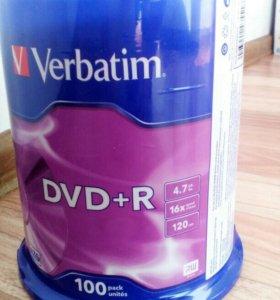 DVD диски verbatim dvd+r 4.7gb 16x 100шт