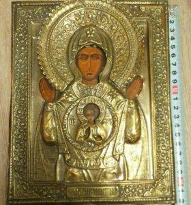 Икона 19 век Знамение Богородицы 22х17
