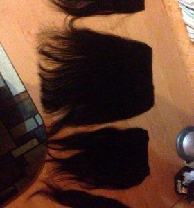 Натуральные волосы на заколках+подарок