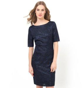 Новое темно-синее кружевное платье 54 р-р