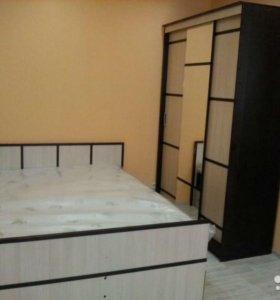 Новая спальня, кровать с ящиками, шкаф-купе, комод