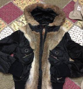 Куртка с настоящим кроличьим мехом