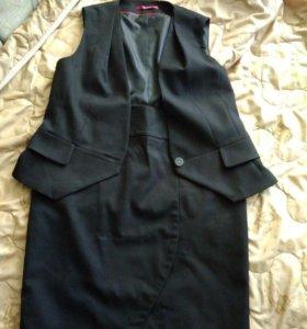 костюм юбка+жилет