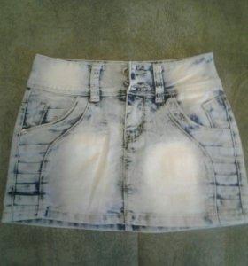 Юбка мини, джинсовая