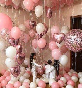Розовые шарики для девушки женщины дочери с гелий