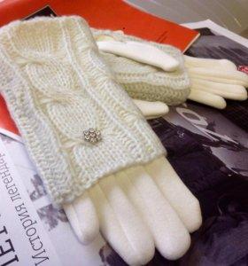 Перчатки женские белые теплые