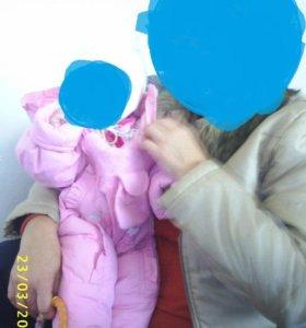 комбинезон зимний для девочки розовый