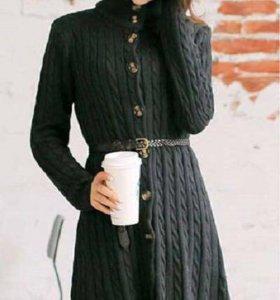 Вязаное платье-кардиган S новое