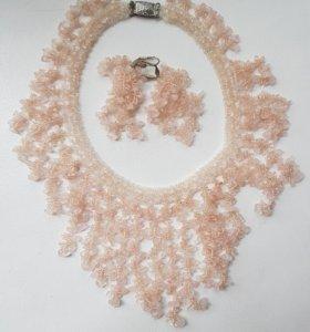 Ожерелье и серьги Розовый кварц