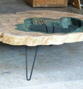 Торцевой спил дерева со стеклом 96 см диаметр