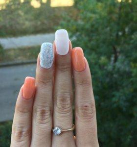 Наращивание ногтей,покрытие гелем на свои ногти